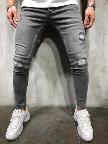Gray Washed Distressed Ultra Skinny Fit Denim AY304 Streetwear Jeans