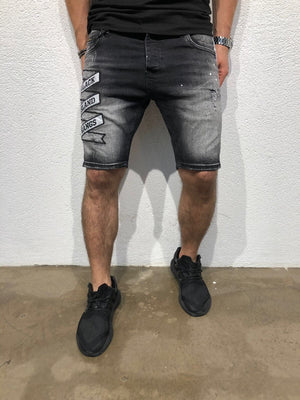 Black Patched Side Striped Slim Fit Denim Short B168 Streetwear Denim Shorts - Sneakerjeans