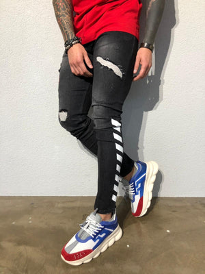 Black Side Printed Snake Patched Ultra Skinny Fit Denim B357 Streetwear Jeans - Sneakerjeans