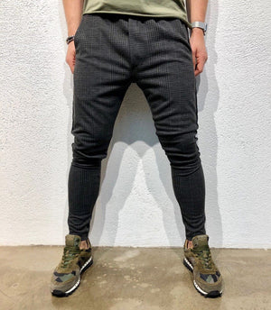 Anthracite Checkered Side Striped Jogger Pant B139 Streetwear Jogger Pants - Sneakerjeans