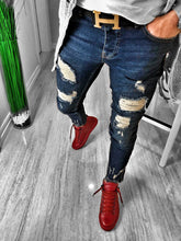 Load image into Gallery viewer, Navy Ankle Distressed Ultra Skinny Fit Denim S229 Streetwear Jeans