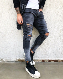 Washed Ripped Skinny Fit Denim B272 Streetwear Jeans