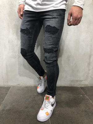 Black in Black Distressed Skinny Fit Denim A234 Streetwear Jeans - Sneakerjeans