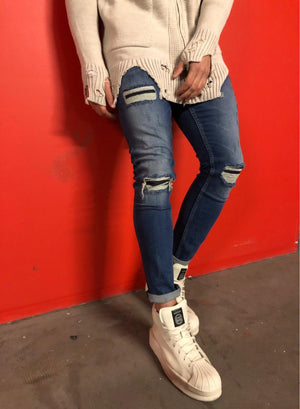 Sneakerjeans - Blue Washed Ripped Skinny Jeans BL493 Streetwear Denim - Sneakerjeans