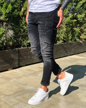 Load image into Gallery viewer, Black Washed Distressed Skinny Fit Denim B235 Streetwear Jeans