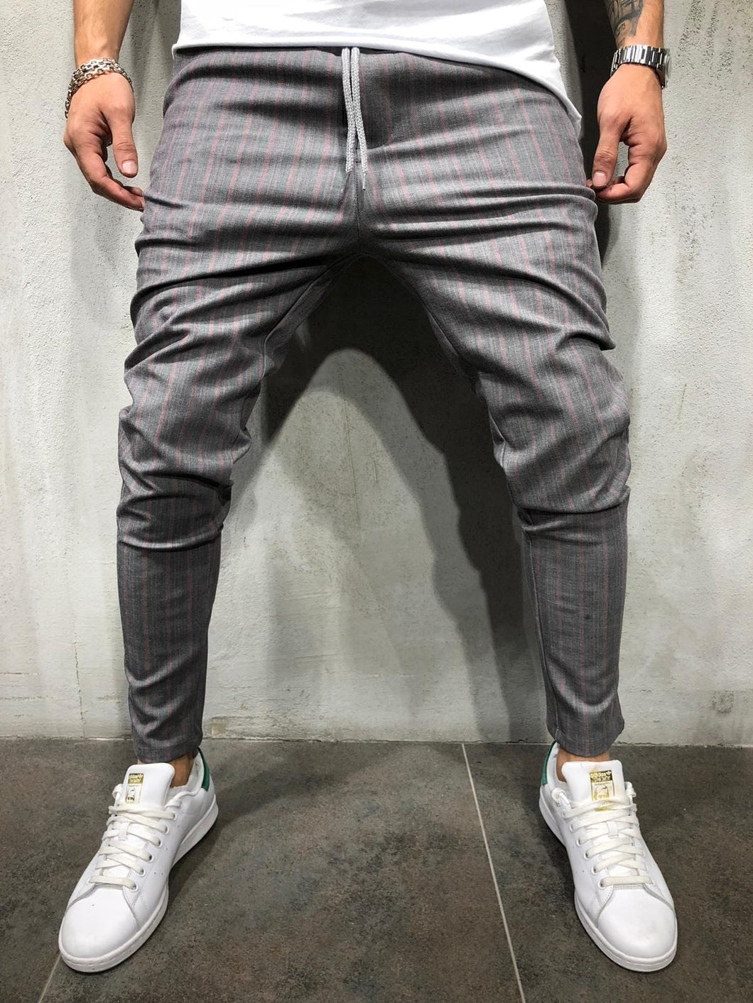 Gray Pink Striped Casual Jogger Pant A212 Streetwear Casual Jogger Pants