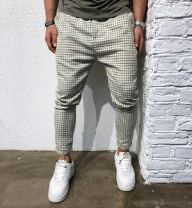 Beige Checkered Baggy Jogger Pant B163 Streetwear Jogger Pants