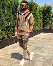 Load image into Gallery viewer, Beige Cream White Striped Tracksuit Gymwear Set B244 Streetwear Tracksuit Jogger Set - Sneakerjeans