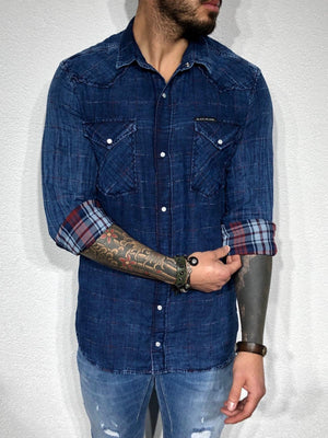 Blue Oversize Denim Shirt BL159 Checkered  Shirt - Sneakerjeans