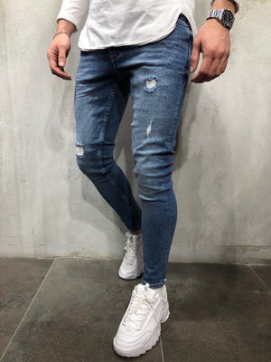 Blue Distressed Skinny Fit Denim A251 Streetwear Jeans - Sneakerjeans