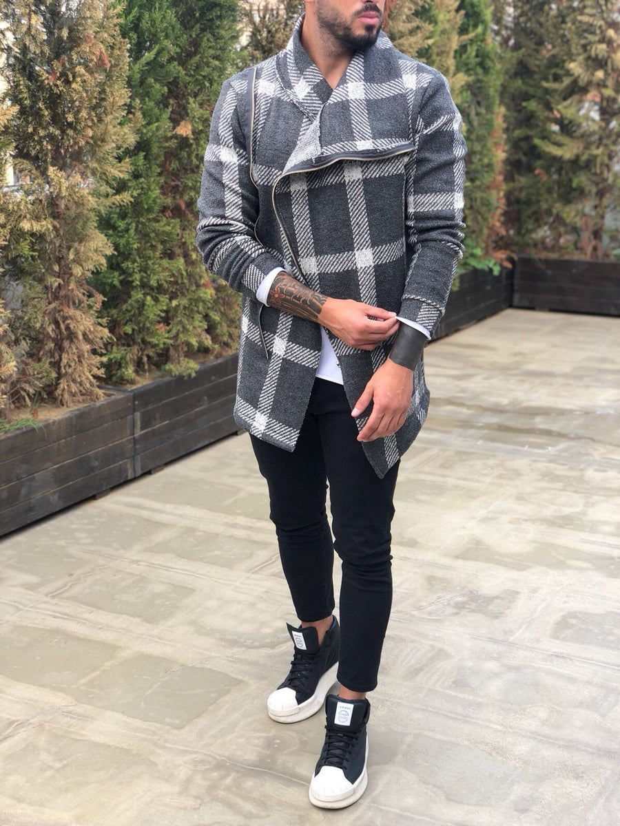 Checkered Asymetric Jacket B295 Streetwear Asymetric Jacket - Sneakerjeans