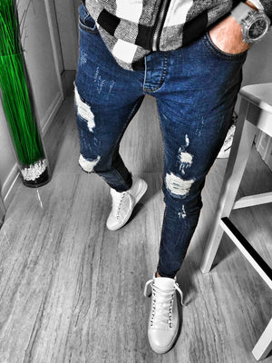 Navy Distressed Ultra Skinny Fit Denim S227 Streetwear Jeans - Sneakerjeans