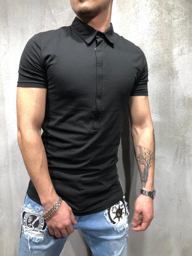 Black Oversized Polo Shirt AY352 Streetwear Polo
