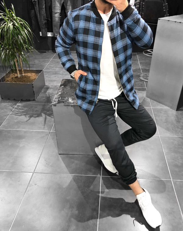 Blue Checkered Jacket KB148 Streetwear Shearling - Sneakerjeans