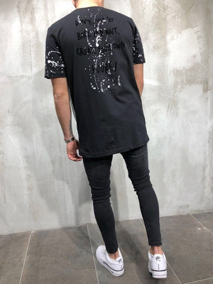 Black Printed Oversize T-Shirt A25 Streetwear T-Shirts - Sneakerjeans