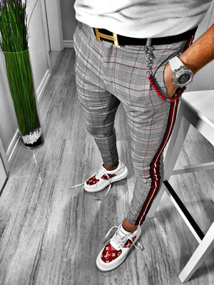Gray Checkered Side 3 Colours Striped Casual Jogger Pant S109 Streetwear Jogger Pants - Sneakerjeans