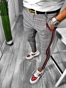 Gray Checkered Side 3 Colours Striped Casual Jogger Pant S109 Streetwear Jogger Pants