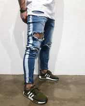 Load image into Gallery viewer, Blue Side Striped Destroyed Skinny Fit Denim B158 Streetwear Denim Jeans