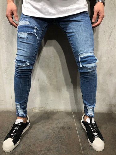 Blue Patched Ultra Skinny Fit Denim AY309 Streetwear Jeans