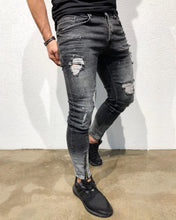 Load image into Gallery viewer, Gray Front Ankle Zip Skinny Fit Denim B157 Streetwear Denim Jeans