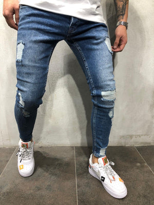Blue Distressed Skinny Fit Denim A216 Streetwear Jeans - Sneakerjeans
