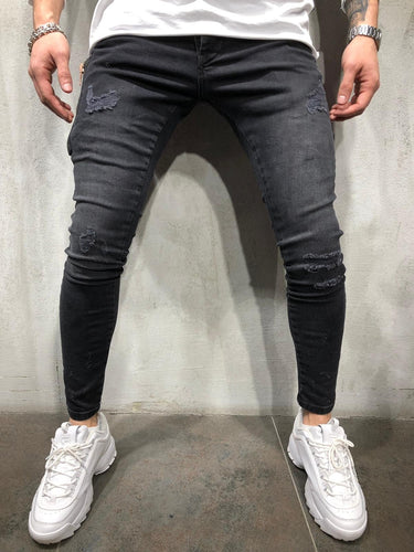 Black Side Zip Ultra Skinny Fit Denim AY109 Streetwear Jeans