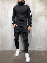 Load image into Gallery viewer, Black White Collar Striped Tracksuit Gymwear Set A206 Streetwear Tracksuit Jogger Set