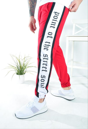Red Side Printed Jogger Pant KB145 Streetwear Jogger Pants - Sneakerjeans