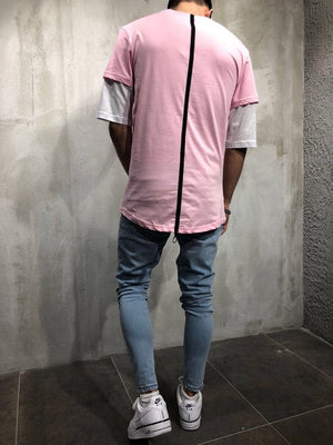 Pink Printed Oversized T-Shirt A41 Streetwear T-Shirts - Sneakerjeans