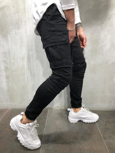 Black Cargo Pocket Ultra Skinny Fit Jogger Denim 2Y-K17 Streetwear Jeans