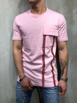 Pink Front Pocket Printed Oversize T-Shirt A49 Streetwear T-Shirts - Sneakerjeans