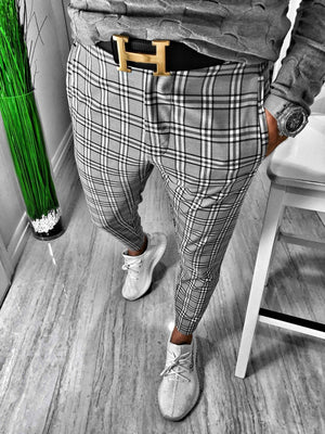 Gray Checkered Casual Jogger Pant S164 Streetwear Casual Jogger Pants - Sneakerjeans