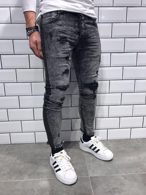 Gray Striped Damaged Slim Fit Jeans B11 Streetwear Jeans - Sneakerjeans