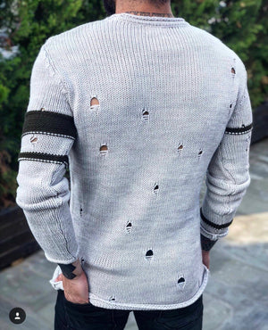 Cream Distressed Sweater B236 Streetwear Sweaters - Sneakerjeans