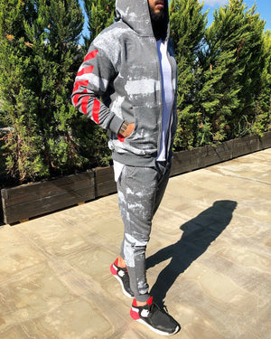 Gray Printed Camouflage Tracksuit Gymwear Set B257 Streetwear Tracksuit Jogger Set - Sneakerjeans