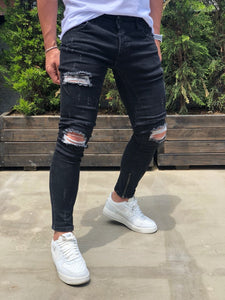 Black Destroyed Ankle Zipper Skinny Fit Denim B189 Streetwear Baggy Jeans