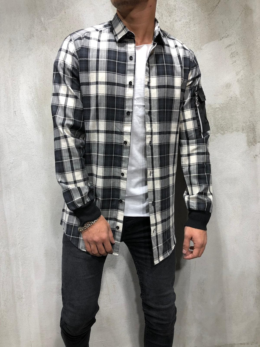Black Oversize Checkered Side Pocket Shirt A198 Checkered  Shirt - Sneakerjeans