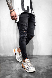 Black Ripped Ultra Skinny Fit Denim BL214 Streetwear Jeans