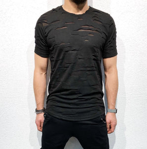 Black Shredded Oversized T-Shirt B51 Streetwear T-Shirts