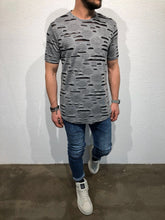 Load image into Gallery viewer, Gray Shredded Oversized T-Shirt B51 Streetwear T-Shirts