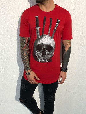 Red Oversize Skull Printed T-Shirt BL140 Streetwear T-Shirts - Sneakerjeans