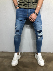 Blue Patched Distressed Denim BL261 Streetwear Jeans