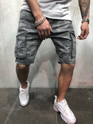 Gray Camouflage Cargo Pocket Slim Fit Denim Short A94 Streetwear Denim Jeans - Sneakerjeans