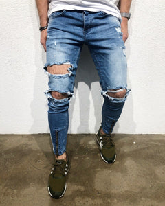 Blue Side Striped Destroyed Skinny Fit Denim B158 Streetwear Denim Jeans