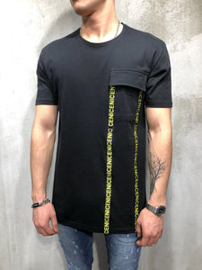 Black Front Pocket Printed Oversize T-Shirt A49 Streetwear T-Shirts