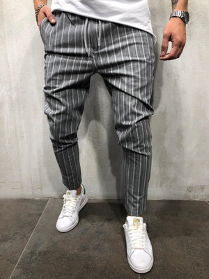 Gray Striped Casual Jogger Pant A211 Streetwear Casual Jogger Pants - Sneakerjeans