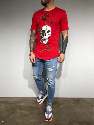 Red Oversize Skull Printed T-Shirt BL180 Streetwear T-Shirts - Sneakerjeans