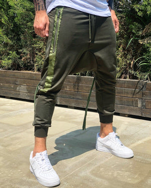 Khaki Side Striped Baggy Jogger Pant B225 Streetwear Jogger Pants - Sneakerjeans