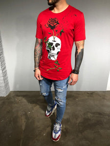Red Oversize Skull Printed T-Shirt BL180 Streetwear T-Shirts