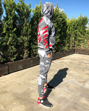 Load image into Gallery viewer, Gray Printed Camouflage Tracksuit Gymwear Set B257 Streetwear Tracksuit Jogger Set